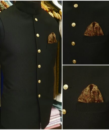 Black Textured Jamawar Waist Coat