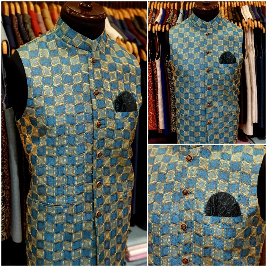 Blue Embroidered Waist Coat