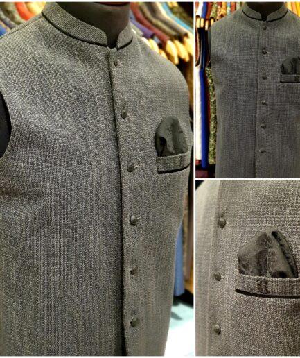 Charcoal Grey Jute Waist Coat