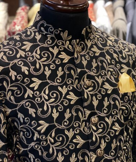 Black Raw Silk with Golden Embroidered Prince Coat