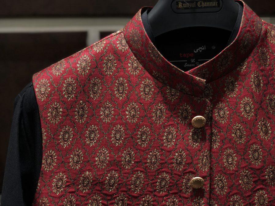 Red & Gold Jamawar Waist Coat