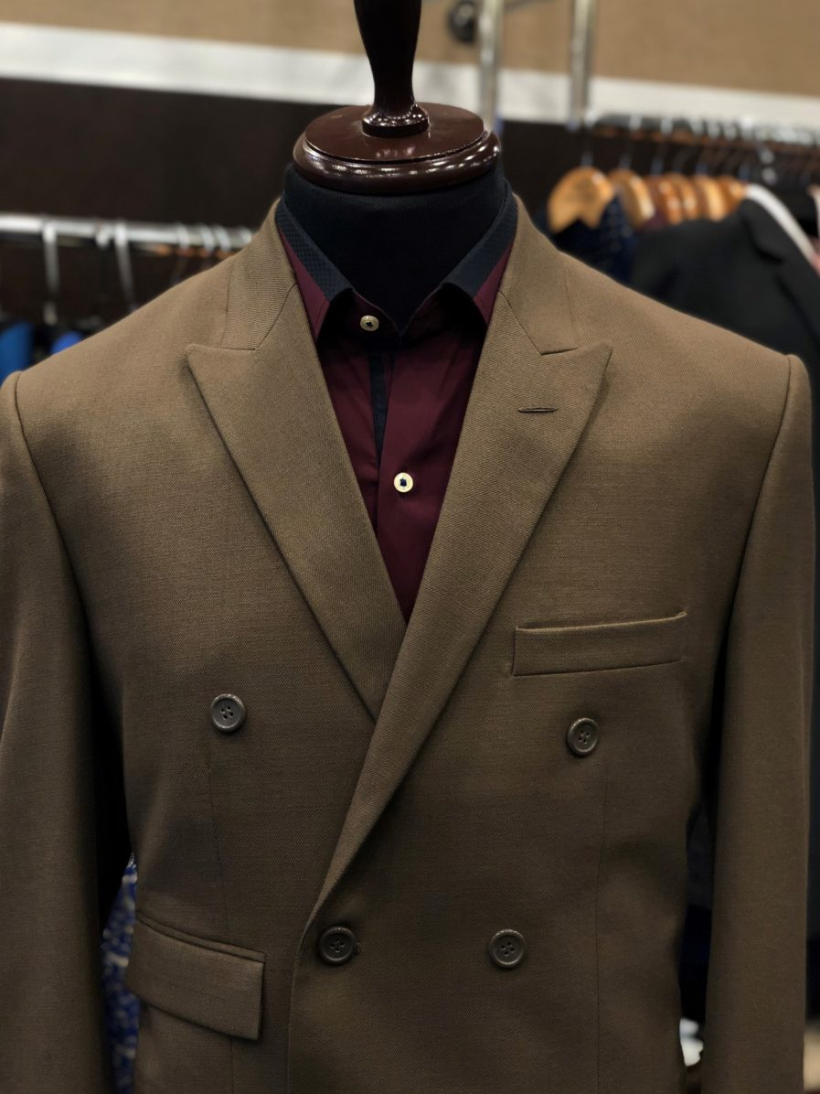 Brown Wool Double Breasted Suit