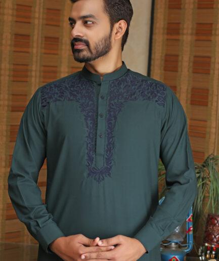 Green Embroidered Kurta Pyjama