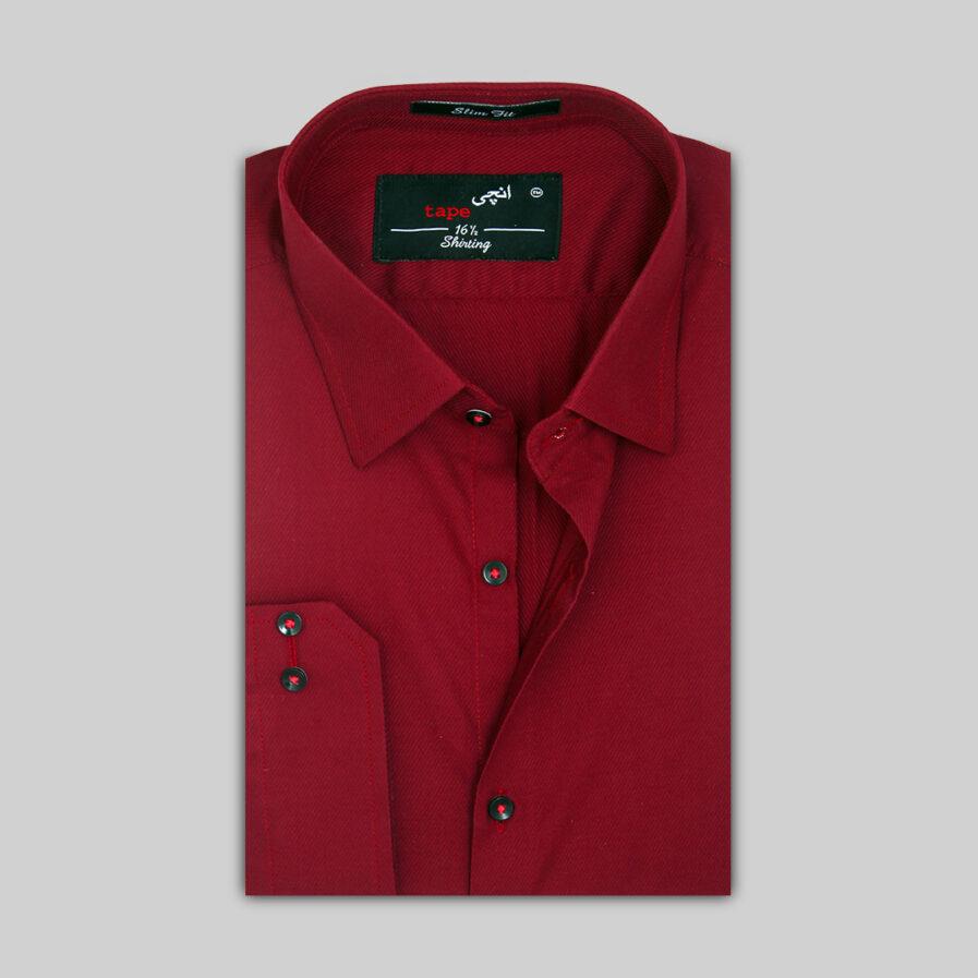 Maroon Self Italic Lined Shirt