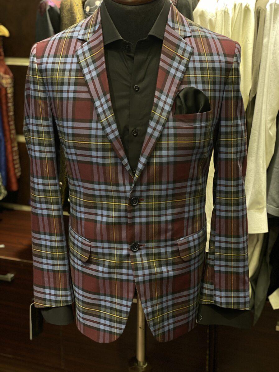 Red & Blue Big Checkered Blazer