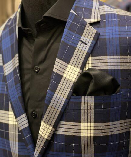 Ash Gray & Blue Big Checkered Blazer