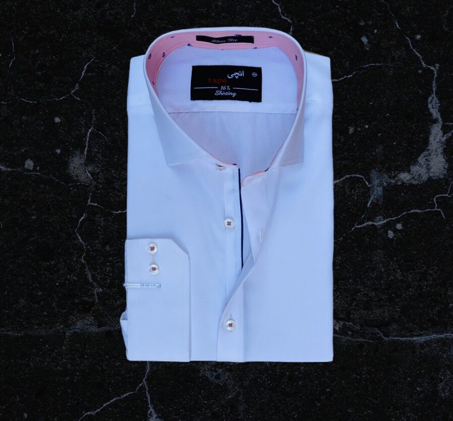 White Self Lined Shirt