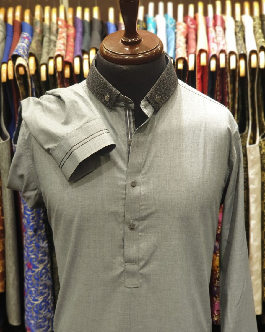 Light Grey Duck Collar Shalwar Kameez