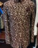Brown Raw Silk with Floral Golden Embroidery