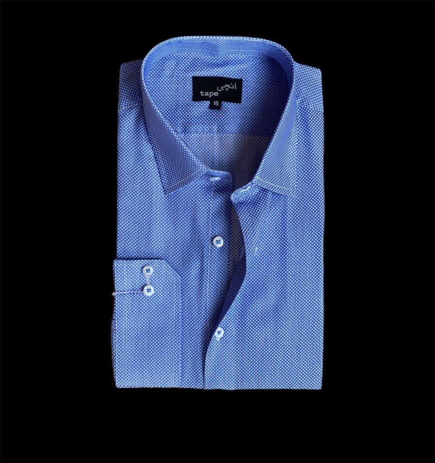 White Pin Dot on Blue Shirt