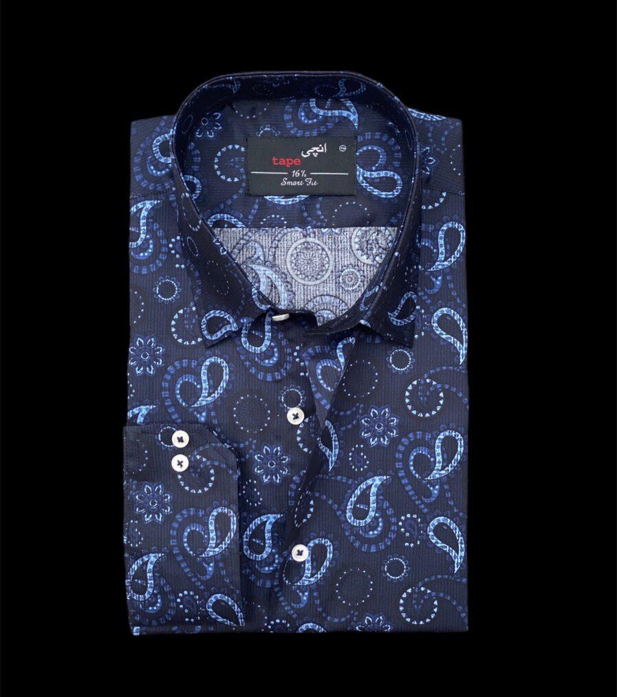 Dark Blue Floral Cotton Shirt