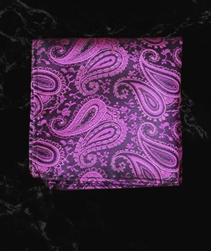 Purple Pattern Embossed Pocket Square