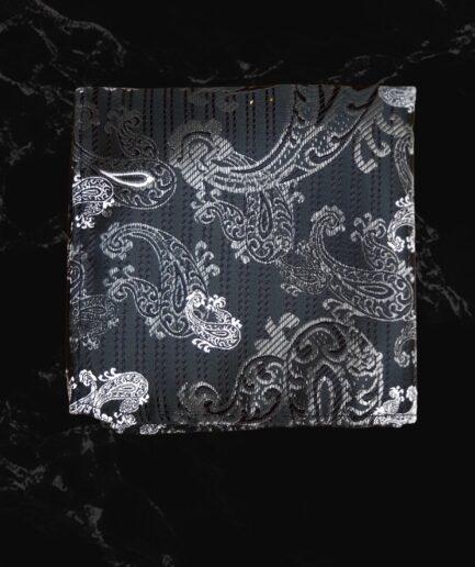 Grey Pattern Embossed Pocket Square