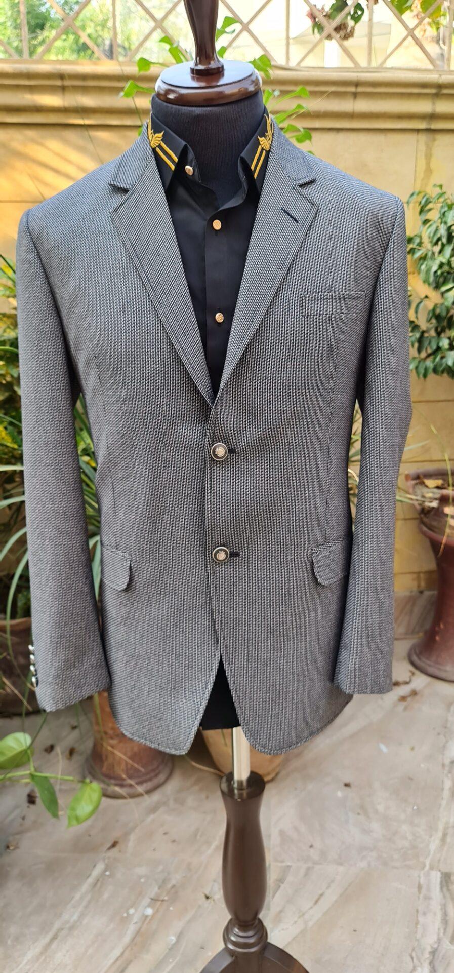 Grey & Black Textured Tweed Blazer