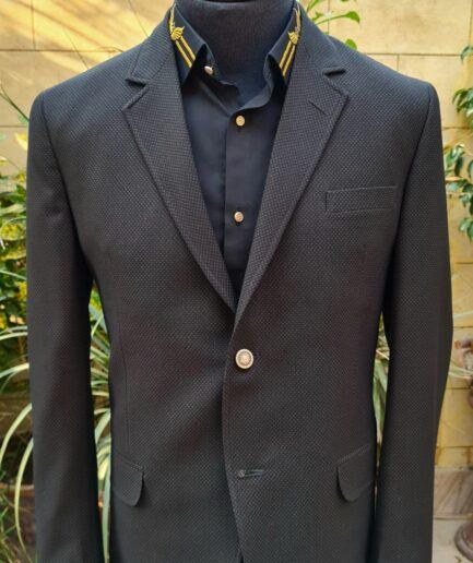 Black & Golden Textured Tweed Blazer