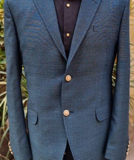 Green Tweed Textured Blazer