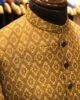 Golden Jamawar Self Printed Sherwani