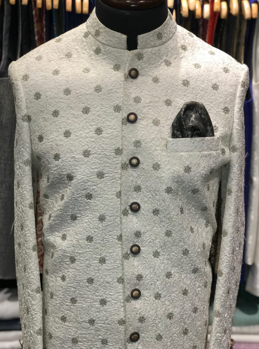 White & Silver Embroidered Sherwani