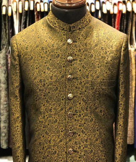 Golden with Pearl Black Pattern Sherwani