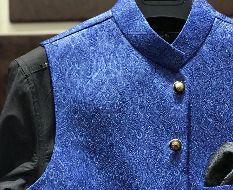 Blue Self Embroidered Jamawar