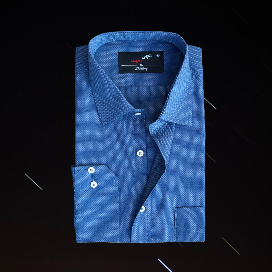 Blue Grey Pin Dot Shirt