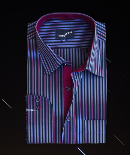 Navy Blue & Maroon Striped Shirt