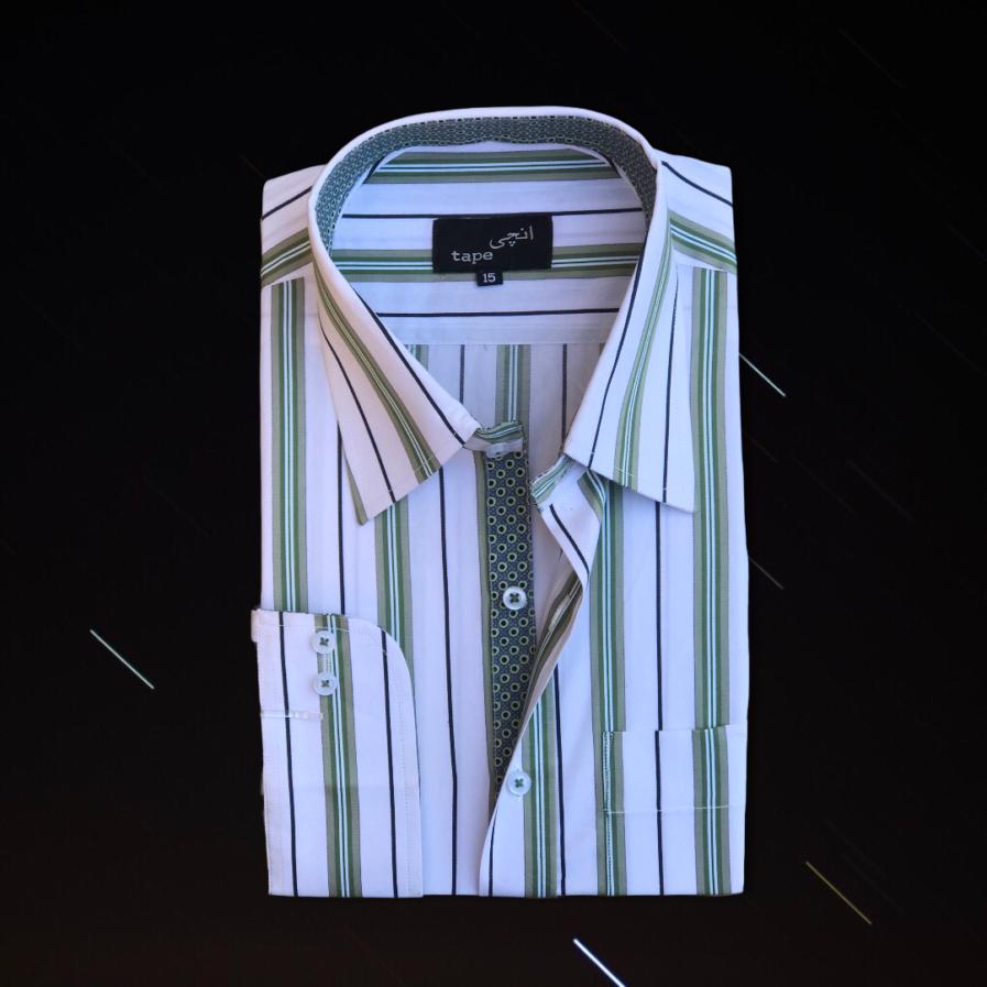 Green & White Striped Shirt