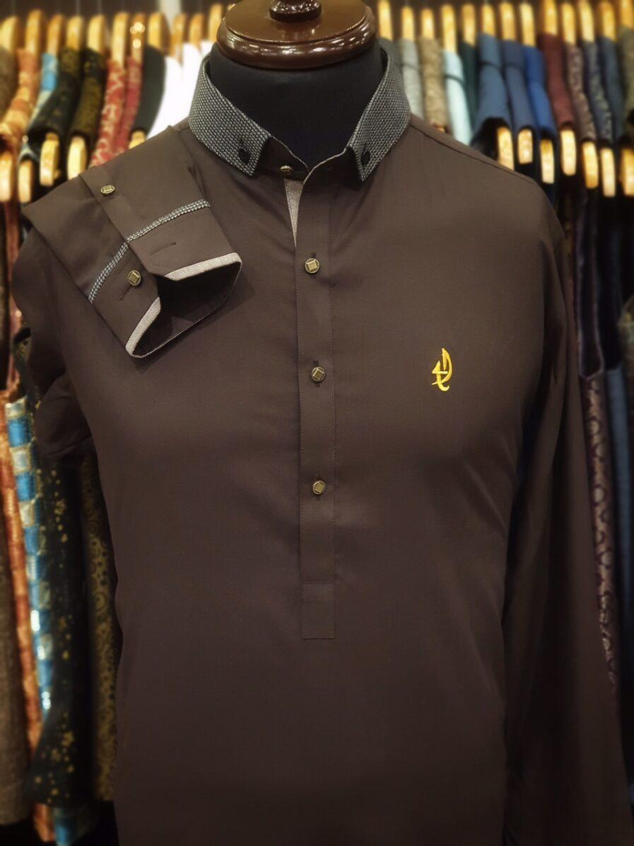 Brown Duck Collar Shalwar Kameez
