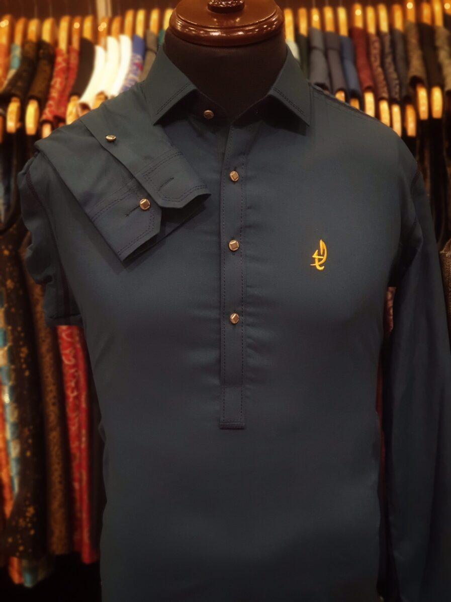 Bottle Blue Classic Collar Shalwar Kameez