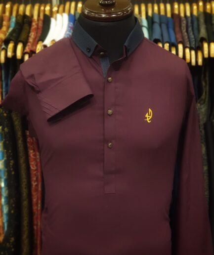 Wood Maroon Duck Collar Shalwar Kameez