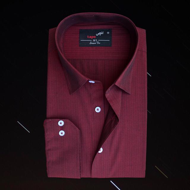 Maroon Self Stripes Shirt