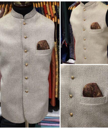Ash White Jute Waist Coat