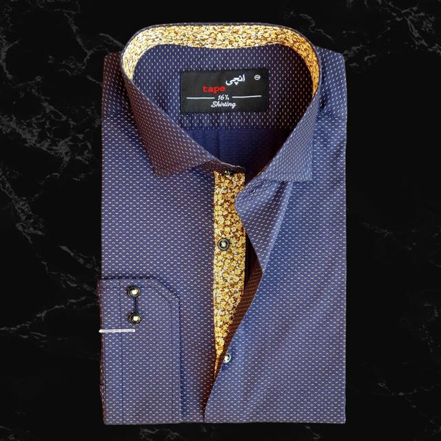 Blue & Mustard Printed Cotton Shirt