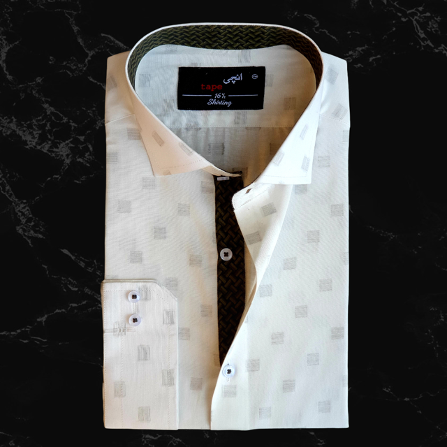 White Self Patched Shirt