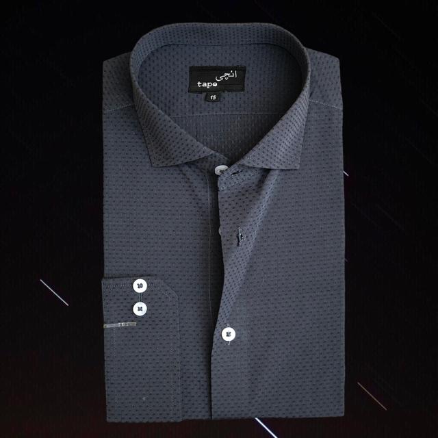 Self Grey Pin Dot Shirt