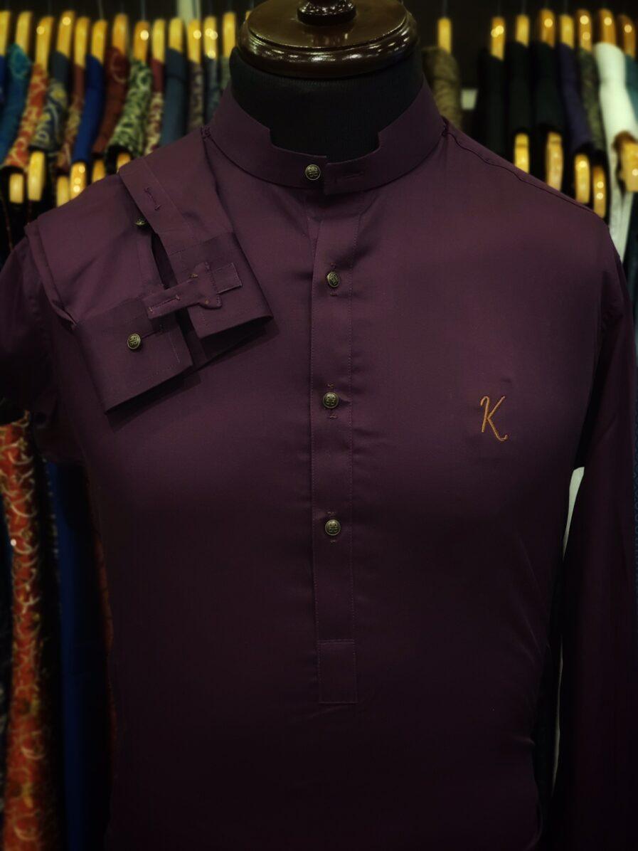 Purple Cotton Satin Kurta Trouser
