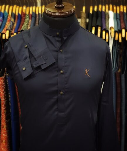 Navy Blue Cotton Satin Kurta Trouser