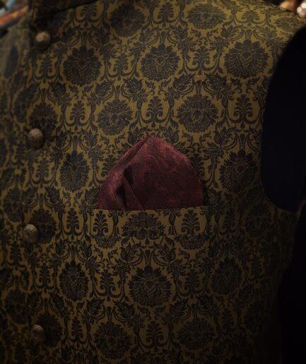 Golden Jamawar Waist Coat