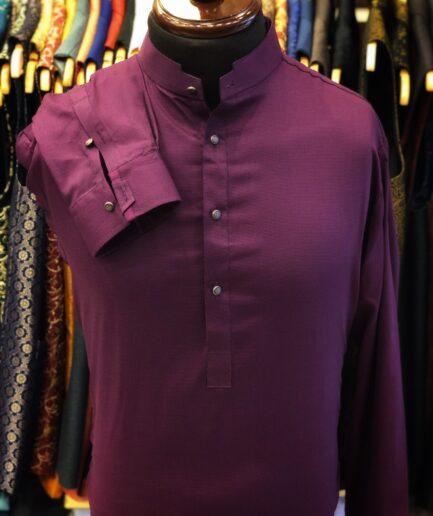 Purple Textured Kurta