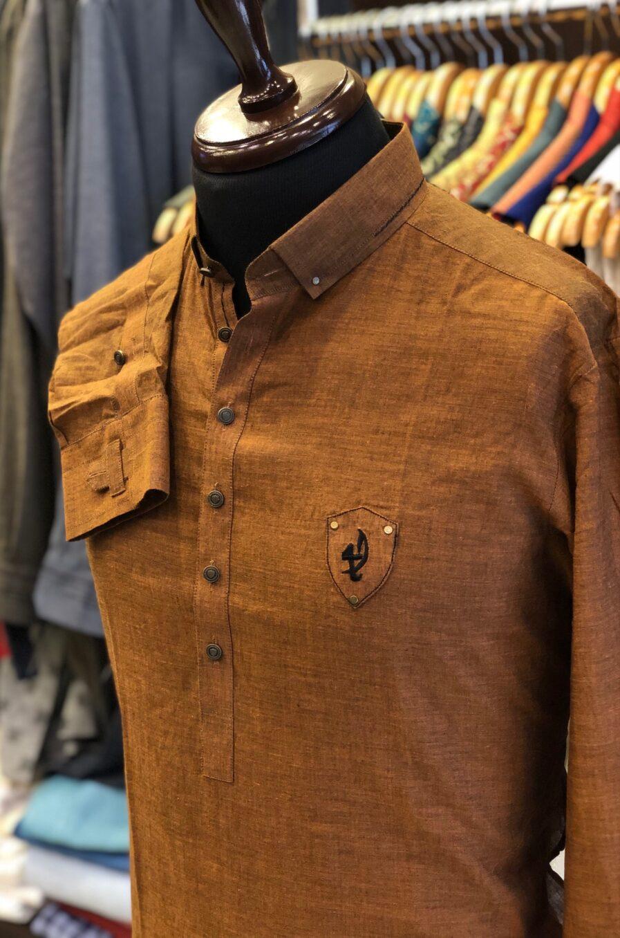 Camel Brown Cotton Linen Kurta Trouser