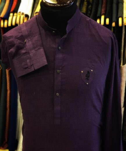 Purple Cotton Linen Kurta Trouser