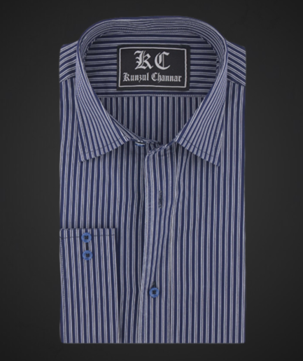Storm Gray with Oxford Blue Stripes
