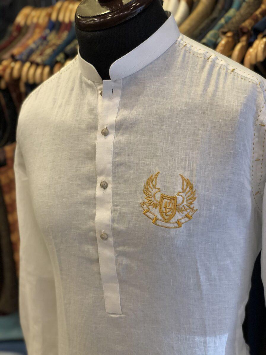White Irish Linen Kurta Pyjama