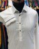 White Classic Collar Textured Cotton