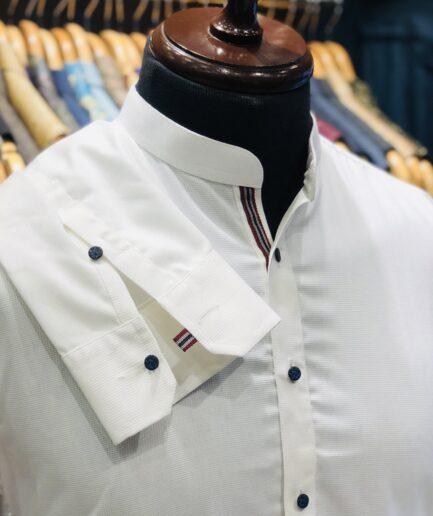 Mandarin Collar White Textured Cotton