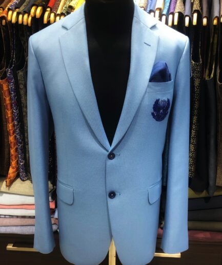 Jacquard Light Blue Pin Dot Blazer