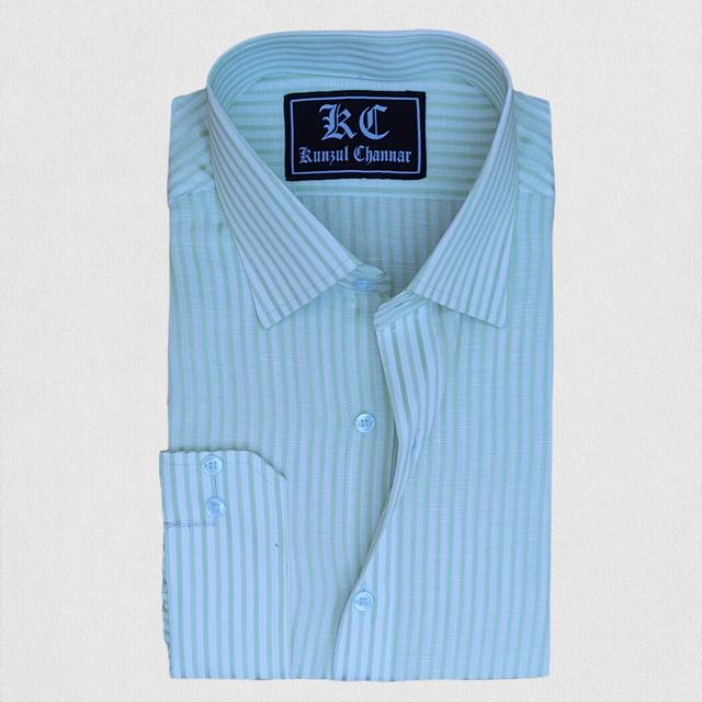 Green Stripes Linen Shirt
