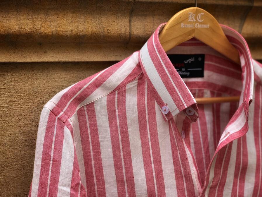 Pink Striped Linen Shirt