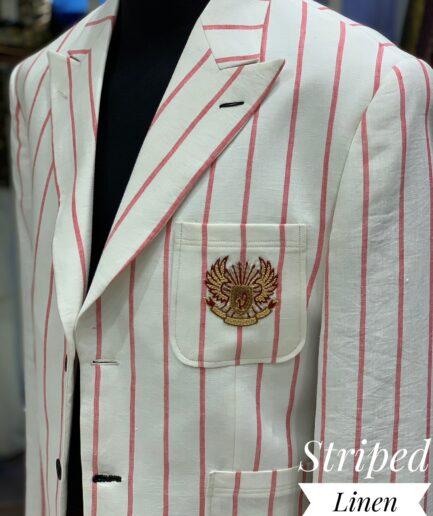Pink & White Linen Striped Blazer
