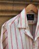 Pink Striped Coat Collar Shirt